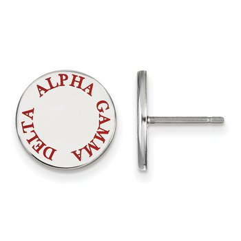 Sterling Silver Alpha Gamma Delta Greek Life Earrings