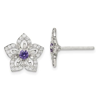 Sterling Silver Purple and Clear CZ Flower Post Earrings
