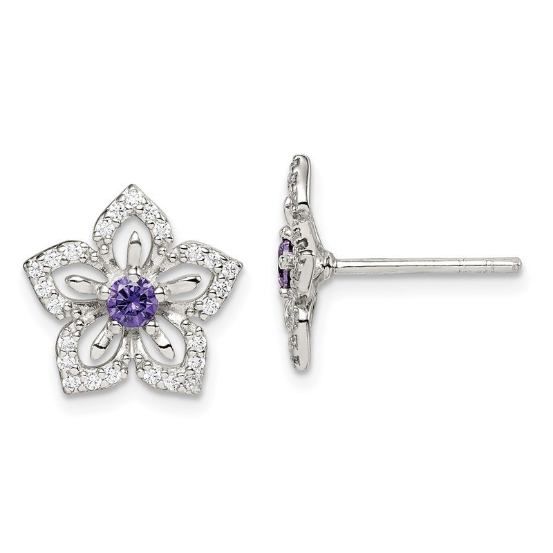 Quality Gold Sterling Silver Purple and Clear CZ Flower Post Earrings