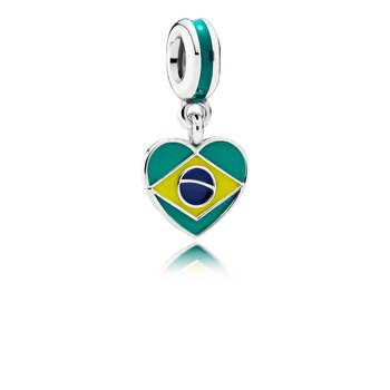 Brazil Heart Flag Dangle Charm, Mixed Enamels