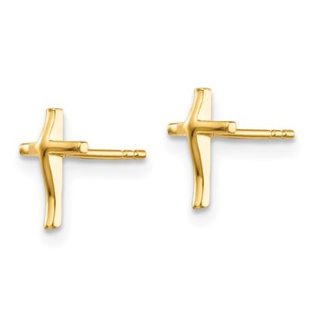14k Madi K Polished Cross Post Earrings