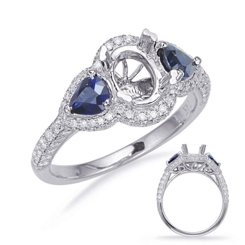 S. Kashi & Sons Bridal White Gold Sapphire & Diamond Eng Ring