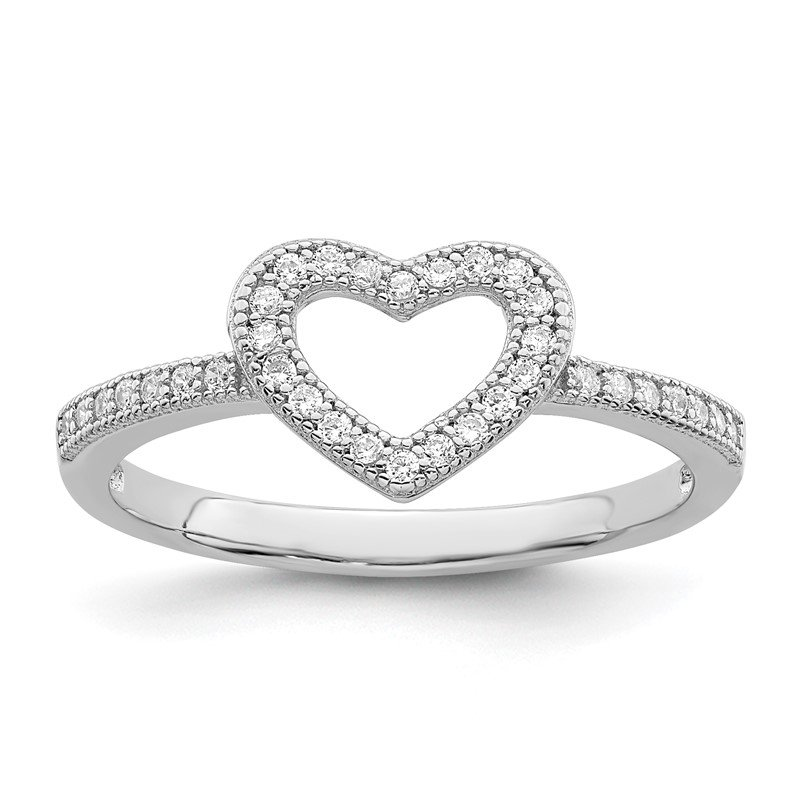 Quality Gold SS Rhodium-Plated CZ Brilliant Embers Heart Ring