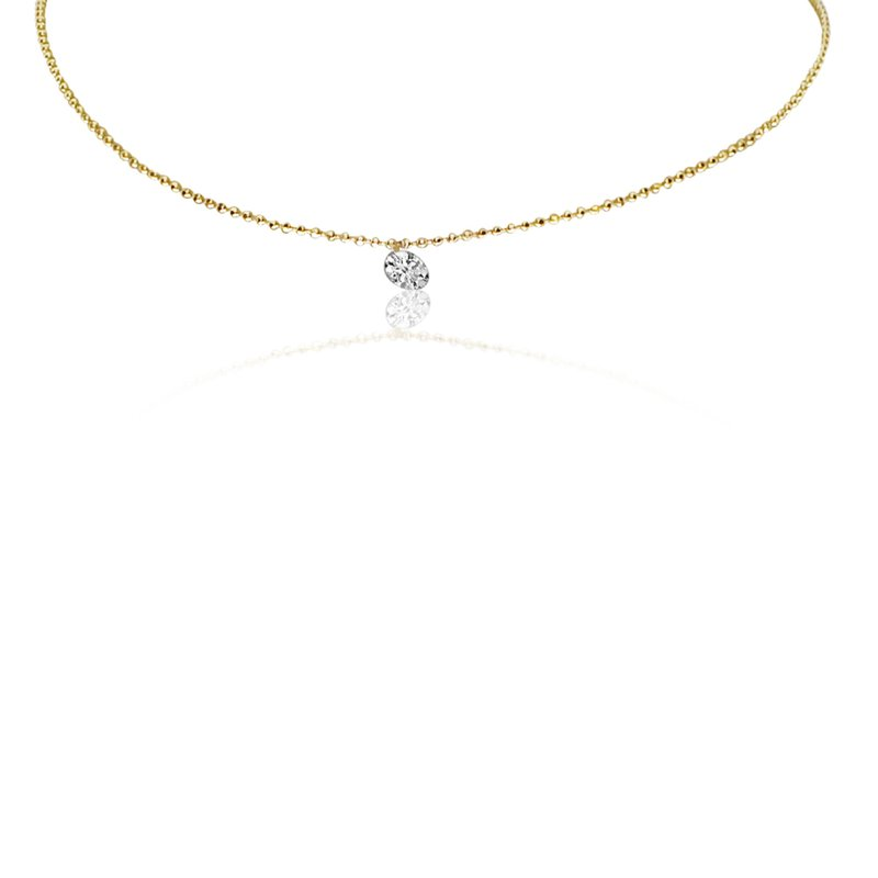 "Color Merchants 14K Yellow Gold 0.25 Single Diamond Necklace with 18"" Chain"