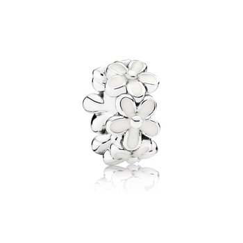 Darling Daisies Spacer, White Enamel