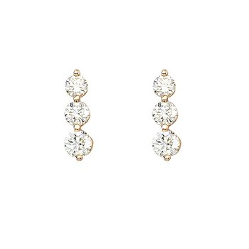 14k Yellow Gold 1.50 ct 3 Stone Diamond Earring