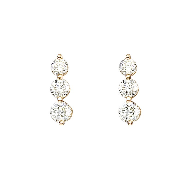 Color Merchants 14k Yellow Gold 1.50 ct 3 Stone Diamond Earring