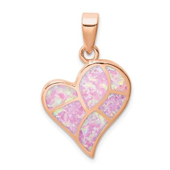 Sterling Silver Rose-tone Created Pink Opal Inlay Heart Pendant
