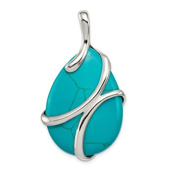 Sterling Silver Polished Synthetic Turquoise Pendant