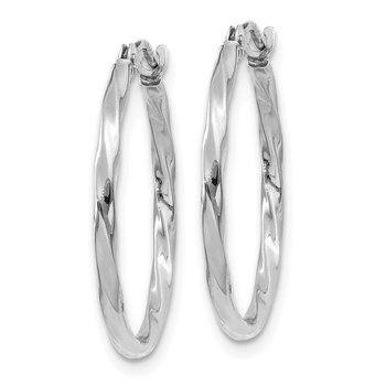 14k White Gold Polished Twisted Hoops