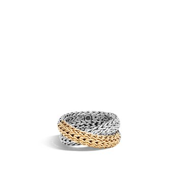 Classic Chain Overlap Ring in Silver and 18K Gold
