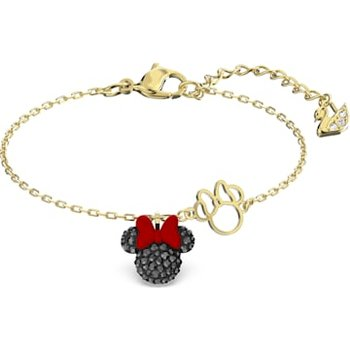Minnie Bracelet, Black, Gold-tone plated