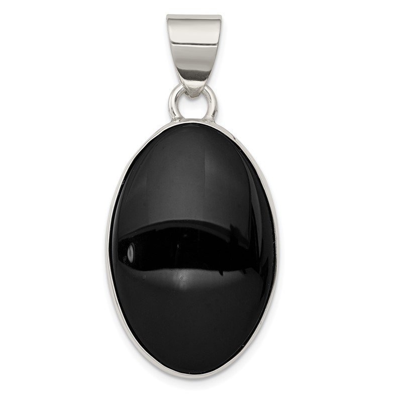 Quality Gold Sterling Silver Onyx Polished Oval Pendant