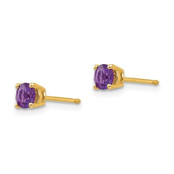 14k 4mm Amethyst Earrings