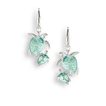 Green Turtle Wire Earrings.Sterling Silver-White Sapphires