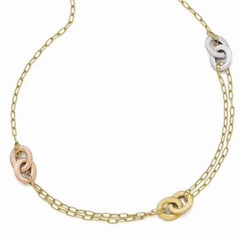 Leslie's 14k Tri-color Textured Diamond-cut Necklace