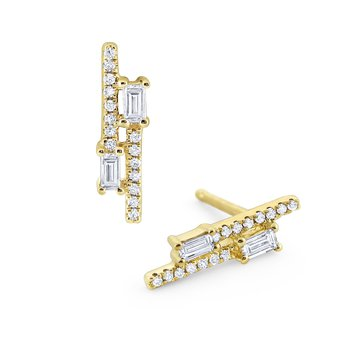 Linear Mosaic Diamond Stud Earrings Set in 14 Kt. Gold