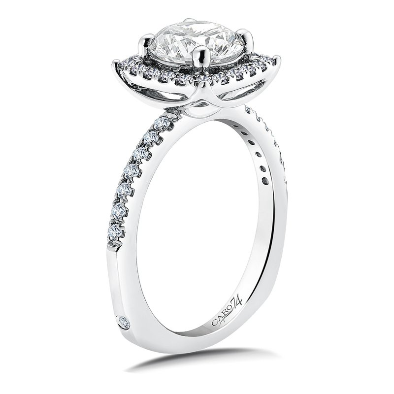 Caro74 Halo Engagement Ring Mounting in 14K White Gold with Platinum Head (.30 ct. tw.)