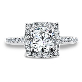 Halo Engagement Ring Mounting in 14K White Gold with Platinum Head (.30 ct. tw.)