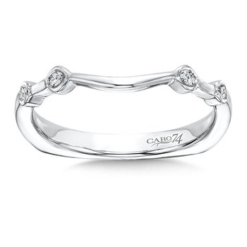Bezel Set Wedding Band in 14K White Gold