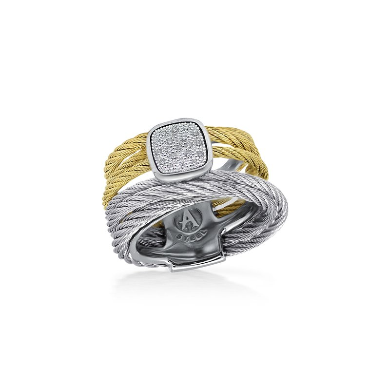 ALOR Grey & Yellow Cable Intermix Ring with 18kt White Gold & Square Diamond Station