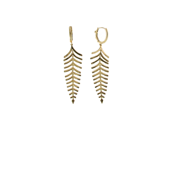 18Kt Gold Fish Bone Drop Earrings