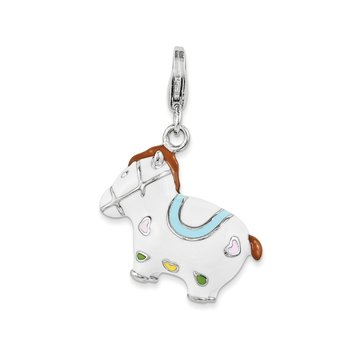 Sterling Silver and Enamel Horse w/ Lobster Clasp Charm