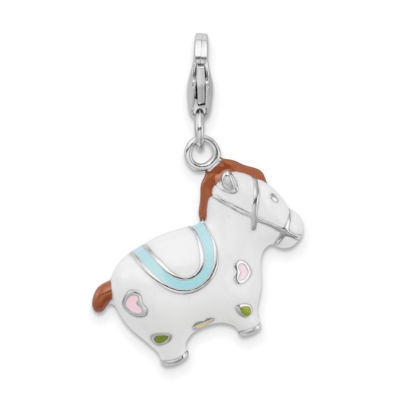 Quality Gold Sterling Silver RH w/ Lobster Clasp Enamel Horse Charm