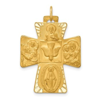 14k Solid Polished/Satin Large 4-Way Medal Cross