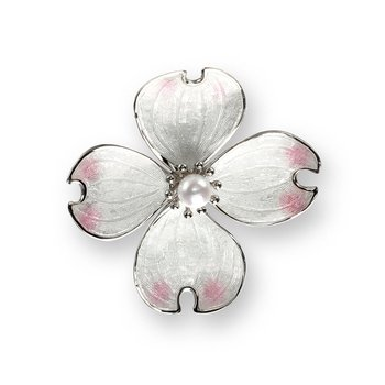 White Dogwood Pendant.Sterling Silver-Akoya Pearl