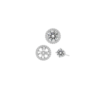 Diamond Halo Earring Jackets - 1.00 carat