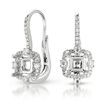 Hallo Earring Setting For 2ct tw princes