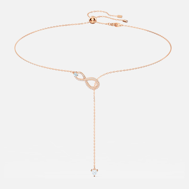 Swarovski Swarovski Infinity Y Necklace, White, Rose-gold tone plated