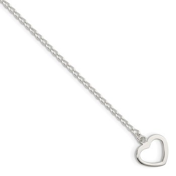 Sterling Silver Polished Heart with Arrow 7.5in Toggle Bracelet