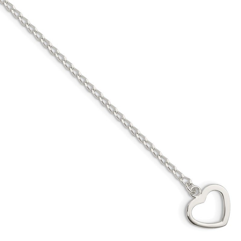 Quality Gold Sterling Silver Polished Heart with Arrow 7.5in Toggle Bracelet
