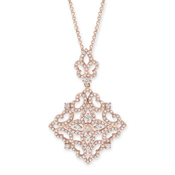 Diamond Antique Necklace in 14K Rose Gold with 193 diamonds weighing .74ct tw