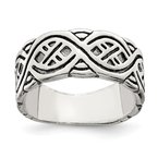 Quality Gold Sterling Silver Fancy Antiqued Band