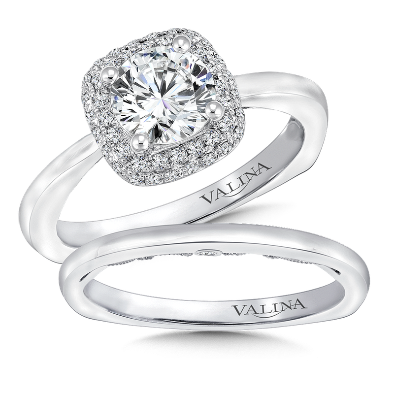 Valina Cushion shape halo mounting .21 ct. tw., 1 ct. round center.