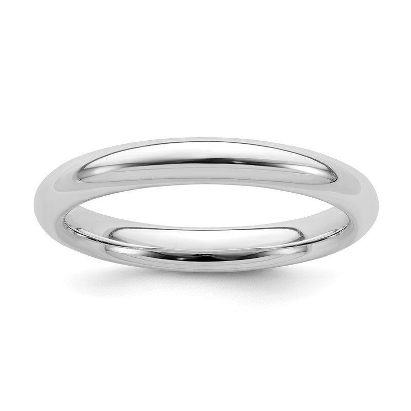 Quality Gold Sterling Silver Rhodium-plated 3mm Comfort Fit Band
