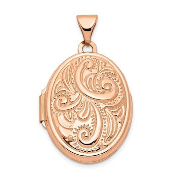 14k Rose Gold 21mm Oval Locket