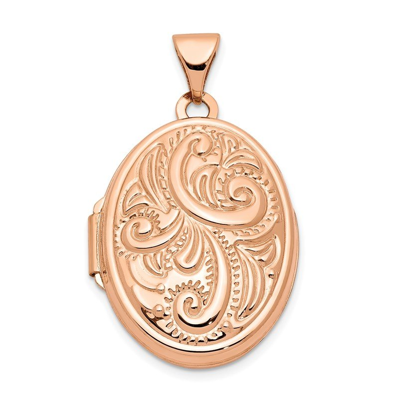 Quality Gold 14k Rose Gold 21mm Oval Locket
