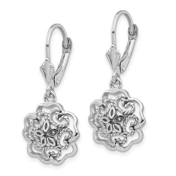 14K White Polished Floral Leverback Earrings
