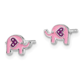 Sterling Silver Rhodium-plated Childs Enameled Pink Elephant Post Earrings