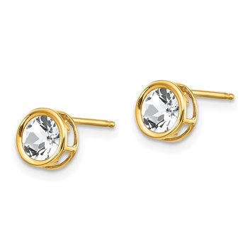 14k 5mm Bezel White Topaz Stud Earrings