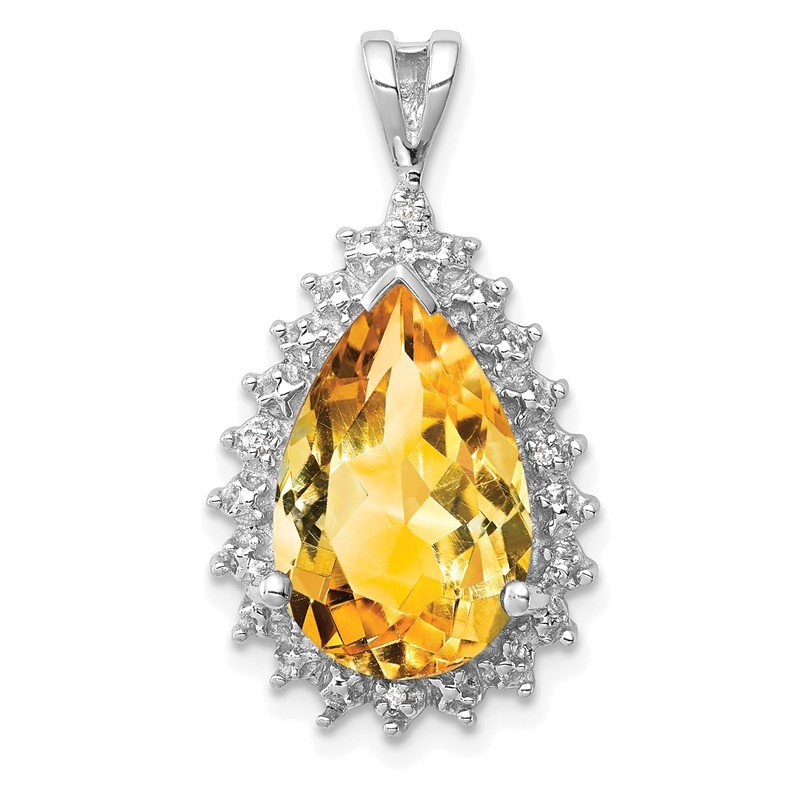 Sterling Silver Rhodium Citrine & Diamond Pear Pendant