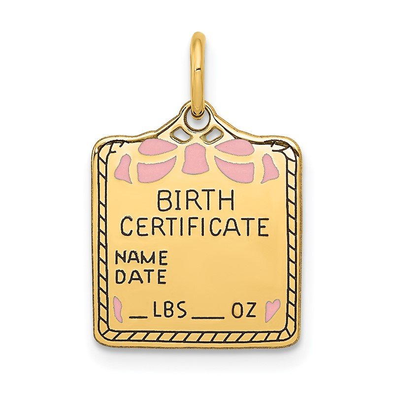 Quality Gold 14k Enameled Pink Engravable Birth Certificate Charm
