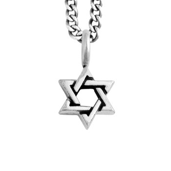 Small Star Of David Pendant On Curb Link Chain