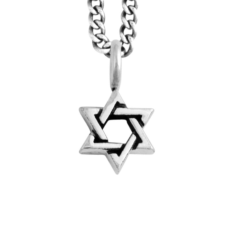 King Baby Small Star Of David Pendant On Curb Link Chain