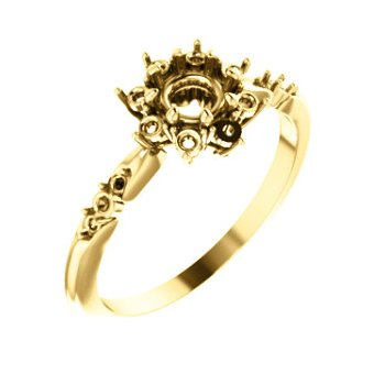 18K Yellow 4.8 mm Round Halo-Style Engagement Ring Mounting