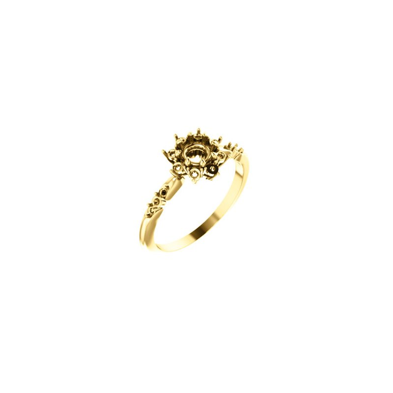 Stuller 18K Yellow 4.8 mm Round Halo-Style Engagement Ring Mounting